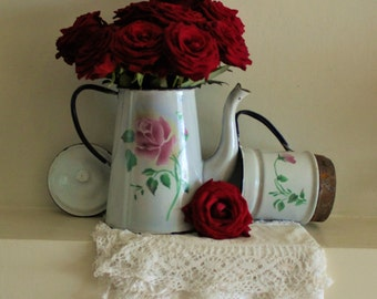 Vintage Gorgeous Romantic Large French White Enamel Coffee Pot With Pink Roses