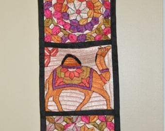 Indian hand Embroidered  Wall Hanging,Wall mail organizer, Mail holder,Wall hangings