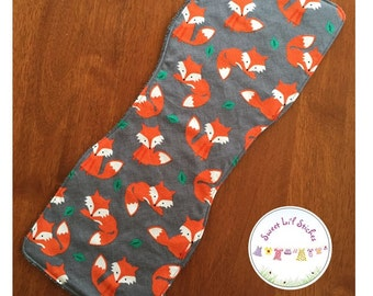Handmade burp cloth - foxes with charcoal back