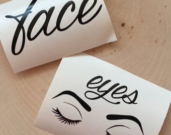 Face & Eyes Decal - Makeup Brush Holder Decals - 2 Decals