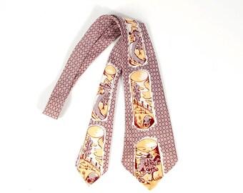 Vintage 40s Tie - 40s Wide Tie - 40s Novelty Tie - 40s Cravat - 40s Surrealist Tie - Gray Yellow Red - Scenic Tie - Swing Tie - Mountains
