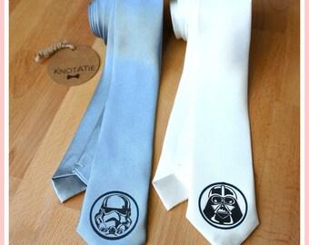 Star Wars Mens Tie.PRINTED.Neckties.Man neck tie.Darth Vader.Stormtrooper.Skinny Tie.Superhero neckties.Superhero ties.Star wars gift.Man
