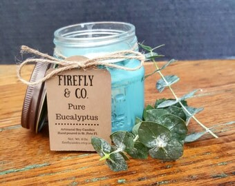 100% Pure Soy Eucalyptus Candle, made with Essential Oils by Firefly & Co.