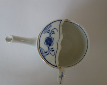 Victorian blue and white invalid cup