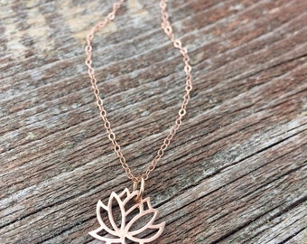 Rose gold lotus necklace, lotus flower, yoga jewelry, delicate, minimalist, rose gold chain