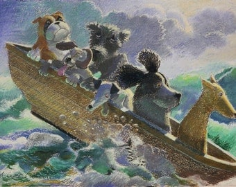 """Dogs print, A4 fine art giclee print of """"All in the same boat"""""""