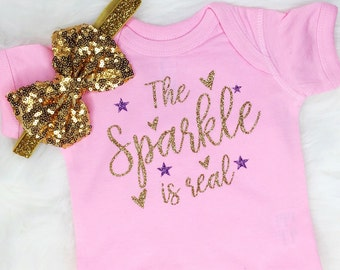 Baby Girl Clothes, Baby Shower Gift, Cute Baby Girl Clothes, The Sparkle is Real Bodysuit