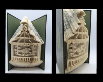 Unique Shabby Chic Birdcage Folded Book Art-Paper-Anniversary--Birthday-Gift-Individually Crafted-Mum, Birdcage, Wedding