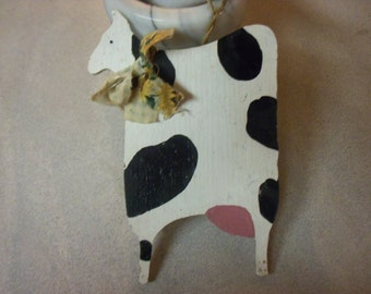 Folk Art Lil Primitive Moo Cows Log Cabin Decor