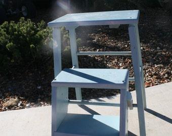 Antique Wood Folding Step Ladder-Stool Blue