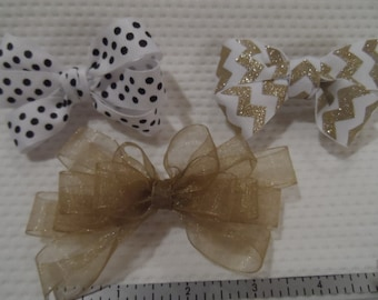 Hair bows, hand tied, grosgrain and mesh with metal clips