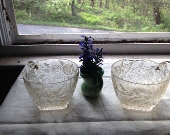 Vintage cut glass punch bowl cups