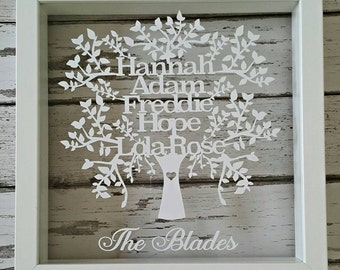 Personalised Picture Frame. Family Tree Cut Out Picture. Great for Weddings, Birthdays, Gifts, Christmas, Mothers Day