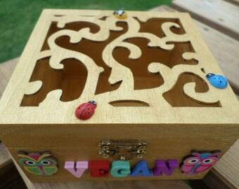 Wooden 'vegan' storage box