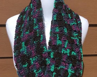 Black and Violet Winter Scarf, Crochet Scarf, Black Infinity Scarf, Black Crochet Scarf, Infinity Scarf, Crocheted Scarf, Gifts for Her