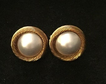 South Sea Pearl 18ct Gold Earrings with Omega Back