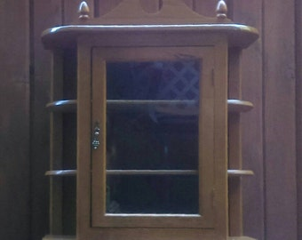 Hard Wood Table Top Cabinet with Side Shelves and Glass Door Original Hardware Excellent Condition-Knick Knack Display Cabinet