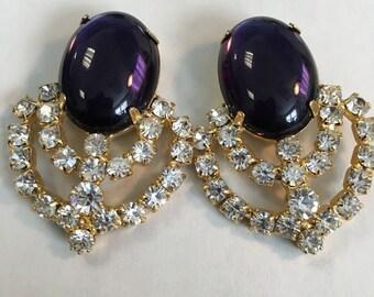 Large Vintage Purple Stone with Clear Rhinestone Earrings