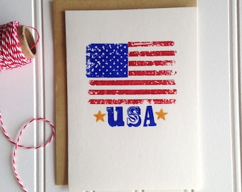 Fourth of July Blank Card, Blank Greeting Card, Patriotic, Red White & Blue, Stars and Stripes, Just Because, USA, Hand Stamped, Handmade