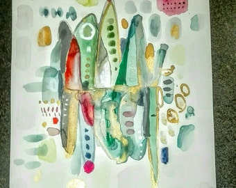 Abstract colorful green Orange and Fuchsia. Original painting on paper