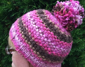 Pink and brown striped hat