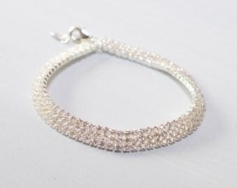 Wedding Bracelet, Thin Bridal bracelet, Crystal Wedding Bracelet, Wedding Jewelry, Swarovski Crystal Bracelet