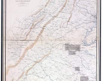 1869 Map of Gettysburg PA and Appomattox Virginia