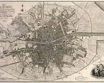 1797 Map of the City of Dublin Ireland