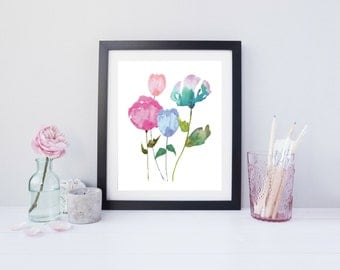 Watercolor Floral Print Art, Floral Wall Art, Watercolor Flower Print, Flower Wall Art, Botanical Print, Botanical Art, Digital Print 8x10