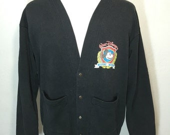 80's mickey mouse sweatshirt cardigan snap button up black 50/50 blend made in usa size XL