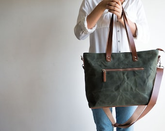 Waxed Canvas Bags Canvas Bags & Leather Bags by MOOIStudio on Etsy