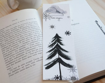 Bookmark -  snowy winter - Season illustration - birds -  trees - animal Art- cocoon reading - Watercolor art- gift woman - Mothers Day