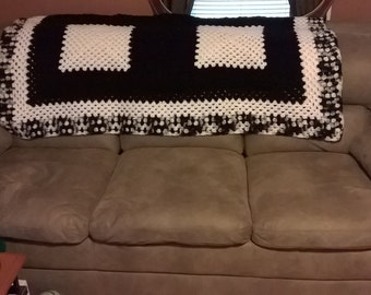 black and white afghan