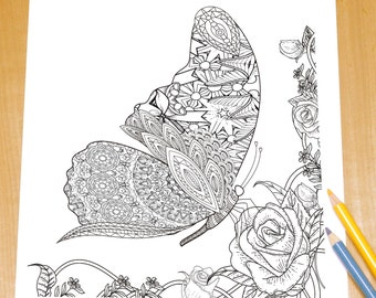 Romantic butterfly - Adult Coloring Page Print