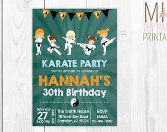 Karate Birthday Party Invitation 3,Karate Birthday Invitation, Tae Kwon Do Birthday Invite,Chalkboard Karate invitation,Girl Karate invite