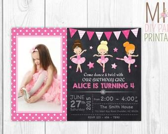 Ballerina Party Photo Invitation,Ballerina Birthday Invite,Tutu Invitation, Ballerina Birthday Invites,Ballerina Invite,Ballerina Invitation