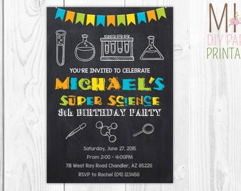 Science Invite 4,Mad Scientist Party, Mad Scientist Birthday, Science Birthday Invitation,Science birthday,science invitation,Science party
