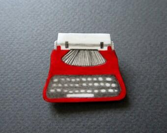 Typewriter. Brooch. Free shipping.