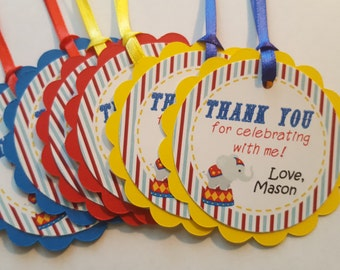 carnival party favor tags * circus party tags * carnival birthday decor * birthday party decor * party favor tags * thank you tags *