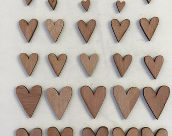 30 x Wooden Heart Shapes // 3 Different Sizes Included: 1cm / 2cm / 3cm // STYLE 3