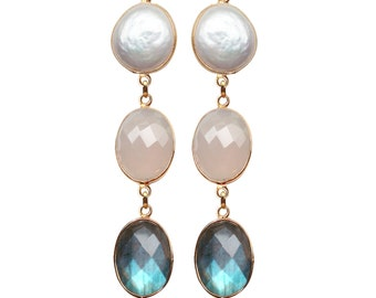 Mahé 3 stones earrings