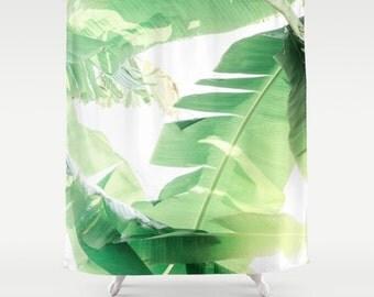 beach shower curtain, banana leaf, tropical shower curtain, tropical decor, banana leaf decor, light green, tropical bath, beach decor,