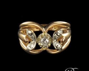 Ring vintage diamonds Pink White Gold 18K