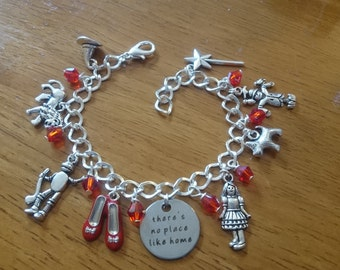 There's no place like home Dorothy oz deluxe silver adjustable charm bracelet available in adult and child sizes