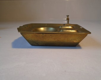 Brass sink shaped vintage ashtray