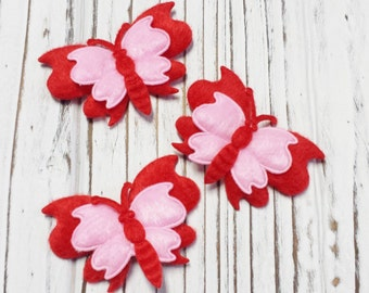 Fabric Butterfly Two Tone Applique, Glue On or Sew On Applique, Arts and Craft Supplies