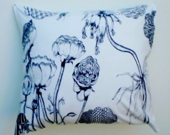Black and white cushion, size 18 x 20 inches,  Floral cushion