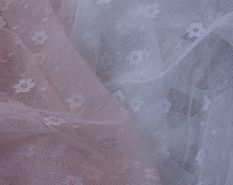 Wedding Dress Craft Lovely Soft Mesh Net Tulle Lace Fabric White 1yd #3903