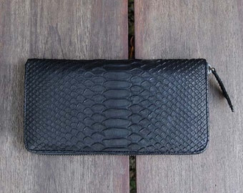 Black Leather Wallet | Black Python Wallet | Python Wallet | Snakeskin Wallet | Zip Wallet | Black Wallet  | Women's Wallet | Luxury Wallet