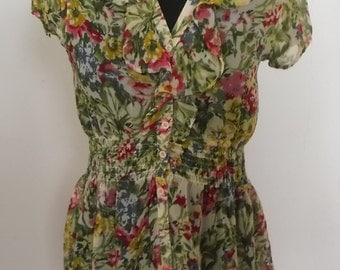 floral blouse,hippie style, blouse with ruffle,70s